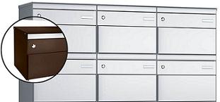 Stebler 6-er Briefkastengruppe s:box 13 Q, 3x2, Schokoladenbraun, mit Seitenstützen