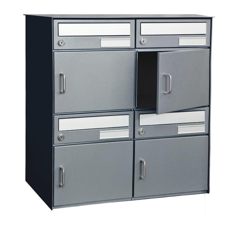 4er briefkastenanlage f r freistehend oder sockelmontage anthrazit. Black Bedroom Furniture Sets. Home Design Ideas