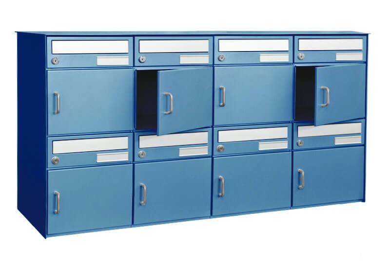 8er briefkastenanlage f r freistehende montage blau nach postnorm ch. Black Bedroom Furniture Sets. Home Design Ideas
