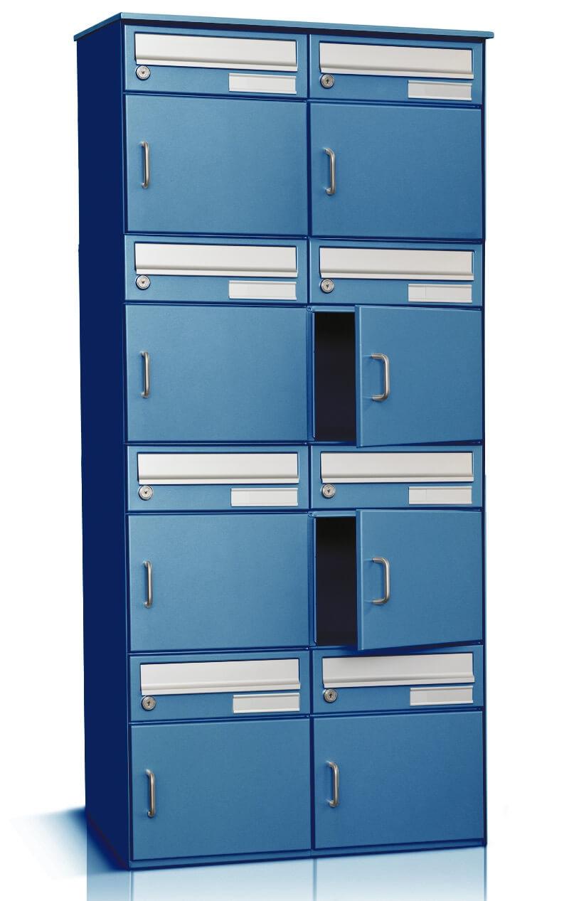 8er briefkastenanlage merkur freistehende montage in blau ch norm. Black Bedroom Furniture Sets. Home Design Ideas