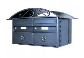 2er Briefkastenanlage Rustico schwarz Freistehend von Huber