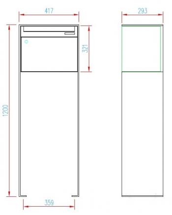 Stebler Briefkasten 99b Z8 VR Q, RAL 5008 Graublau half Freistehend