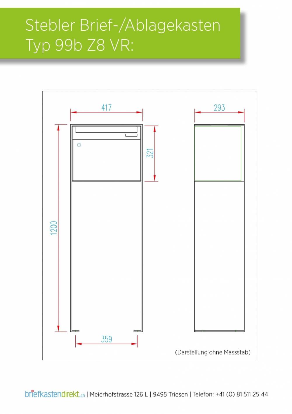 briefkasten 99b z8 in anthrazit und weissalu von stebler freistehend. Black Bedroom Furniture Sets. Home Design Ideas
