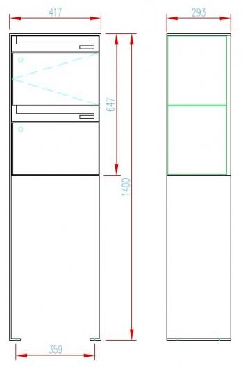 Stebler 2-er Briefkastengruppe 99b Z8 VR Q, RAL 7016 Anthrazit Freistehend half