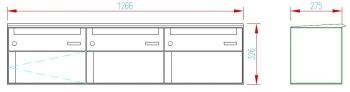 Stebler 3er Briefkastengruppe 75F Q 3n, RAL 9006 Weissaluminium, Wandmontage
