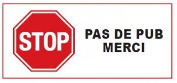 Briefkasten Aufkleber Stopschild PAS DE PUB MERCI