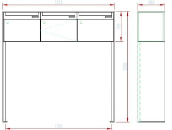 Stebler 3er Briefkastengruppe 99b Z8 VR Q, RAL 7016 Anthrazit Freistehend half