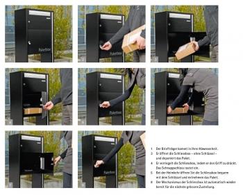 Stebler Paket Briefkasten 99b Maxi, RAL 7016 Anthrazit full Freistehend