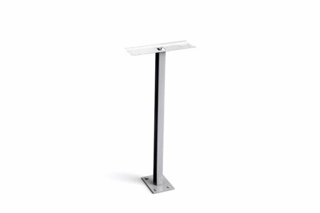 Stebler Einzelstütze für Querformat mit Fussplatte, Aluminium