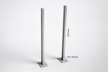 Stebler seitliches Stützenpaar für s: box 13, Querformat mit Fussplatten, Aluminium