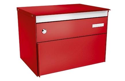 Stebler Briefkasten s:box 13 Q, RAL 3000 Feuerrot Freistehend / Sockelmontage