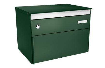 Stebler Briefkasten s:box 13 Q, RAL 6005 Moosgrün Wandmontage