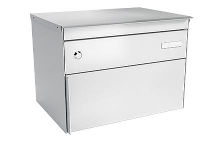 Stebler Briefkasten s:box 13 Q, RAL 9006 Weissaluminium Wandmontage