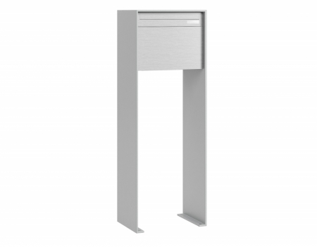 Stebler Briefkasten 99b Z8 VR Q, RAL 9006 Weissaluminium Freistehend