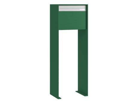 Stebler Briefkasten 99b Z8 VR Q, RAL 6026 Opalgruen half Freistehend