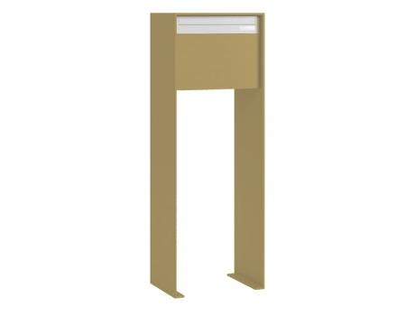Stebler Briefkasten 99b Z8 VR Q, RAL 1019 Graubeige half Freistehend