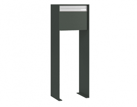 Stebler Briefkasten 99b Z8 VR Q, RAL 7011 Eisengrau half Freistehend