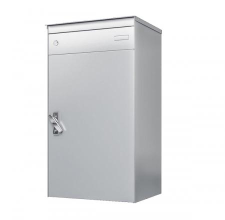 Stebler s:box 17 Briefkasten mit gesichertem Paketschliessfach, RAL 9006 Weissaluminium, Wandmontage