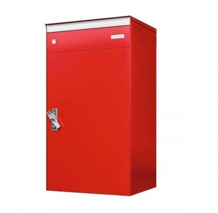 Stebler s:box 17 Briefkasten mit gesichertem Paketschliessfach, RAL 3000 Feuerrot, Wandmontage