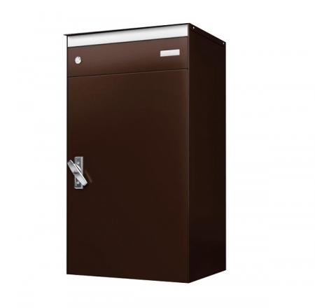 Stebler s:box 17 Briefkasten mit gesichertem Paketschliessfach, RAL 8017 Schokoladenbraun, Wandmontage