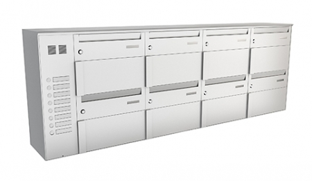 Stebler 8er Briefkastengruppe 75F QS, RAL 9006 Weissaluminium, Wandmontage