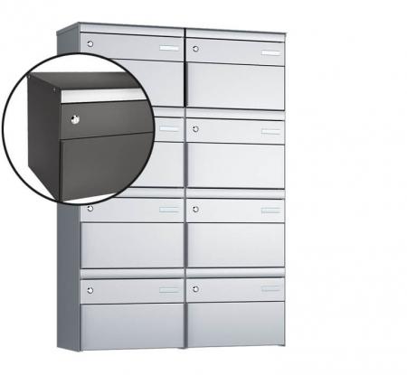 Stebler 8-er Briefkastengruppe s:box 13 Q, 2x4, Patina, Wandmontage