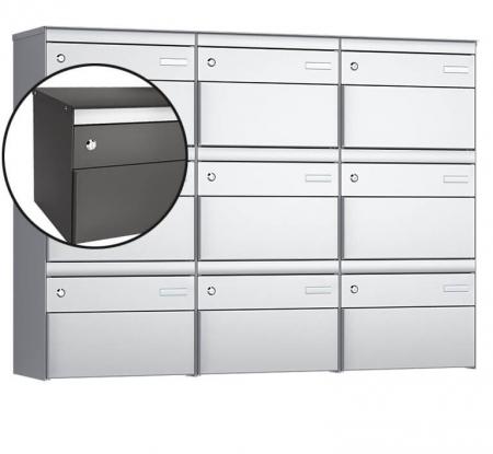 Stebler 9-er Briefkastengruppe s:box 13 Q, 3x3, Patina, Wandmontage