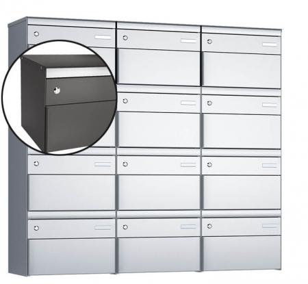 Stebler 12-er Briefkastengruppe s:box 13 Q, 3x4, Patina, Wandmontage