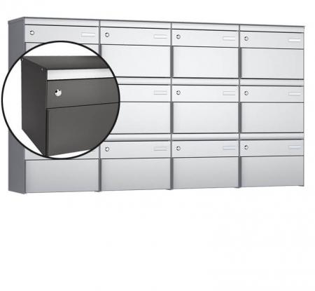 Stebler 12-er Briefkastengruppe s:box 13 Q, 4x3, Patina, Wandmontage