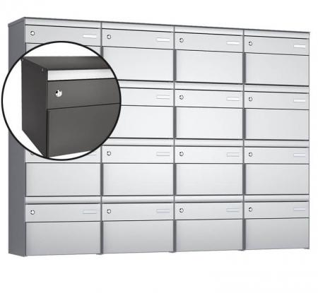 Stebler 16-er Briefkastengruppe s:box 13 Q, 4x4, Patina, Wandmontage
