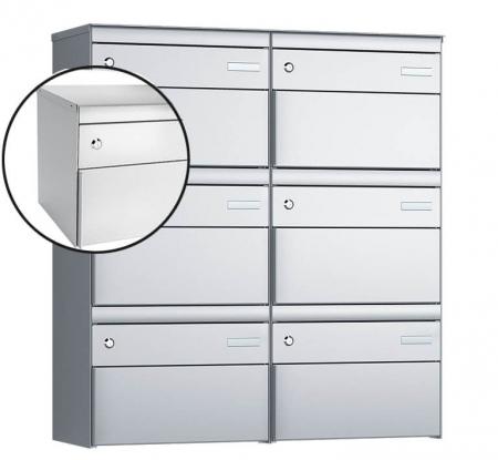 Stebler 6-er Briefkastengruppe s:box 13 Q, 2x3, Weissaluminium, Wandmontage