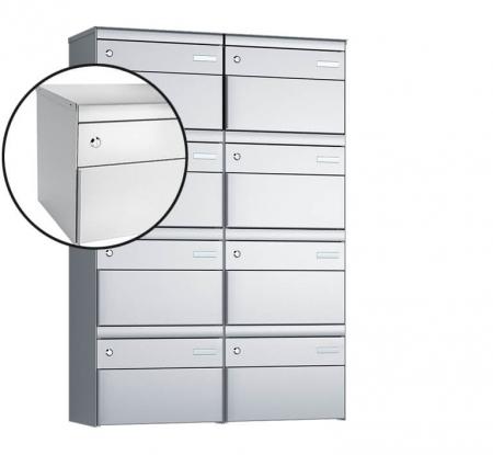 Stebler 8-er Briefkastengruppe s:box 13 Q, 2x4, Weissaluminium, Wandmontage
