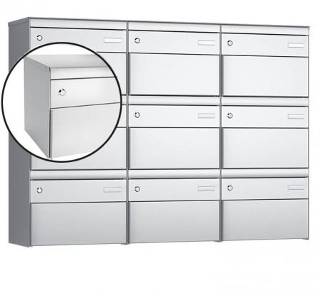 Stebler 9-er Briefkastengruppe s:box 13 Q, 3x3, Weissaluminium, Wandmontage