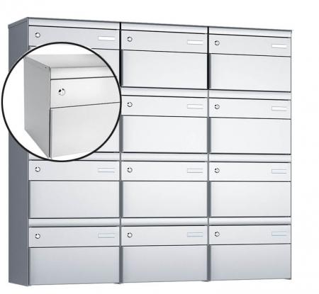 Stebler 12-er Briefkastengruppe s:box 13 Q, 3x4, Weissaluminium, Wandmontage