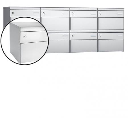 Stebler 8-er Briefkastengruppe s:box 13 Q, 4x2, Weissaluminium, Wandmontage