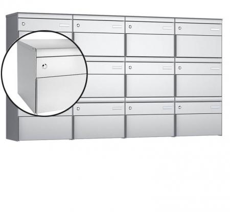 Stebler 12-er Briefkastengruppe s:box 13 Q, 4x3, Weissaluminium, Wandmontage