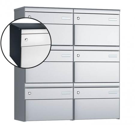 Stebler 6-er Briefkastengruppe s:box 13 Q, 2x3, Anthrazit/Weissaluminium, Wandmontage