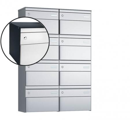 Stebler 8-er Briefkastengruppe s:box 13 Q, 2x4, Anthrazit/Weissaluminium, Wandmontage
