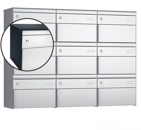 Stebler 9-er Briefkastengruppe s:box 13 Q, 3x3, Anthrazit/Weissaluminium, Wandmontage