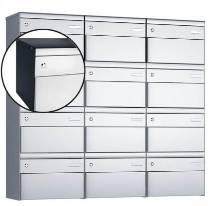 Stebler 12-er Briefkastengruppe s:box 13 Q, 3x4, Anthrazit/Weissaluminium, Wandmontage