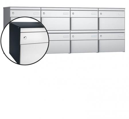 Stebler 8-er Briefkastengruppe s:box 13 Q, 4x2, Anthrazit/Weissaluminium, Wandmmotage