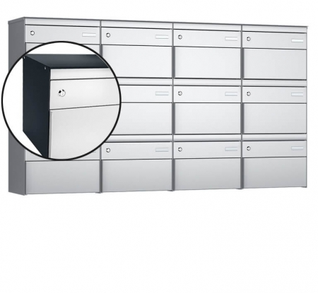 Stebler 12-er Briefkastengruppe s:box 13 Q, 4x3, Anthrazit/Weissaluminium, Wandmontage