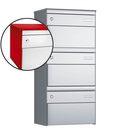 Stebler 3-er Briefkastengruppe s:box 13 Q, 1x3, Feuerrot/Weissaluminium, Wandmontage