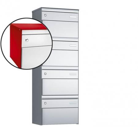 Stebler 4-er Briefkastengruppe s:box 13 Q, 1x4, Feuerrot/Weissaluminium, Wandmontage
