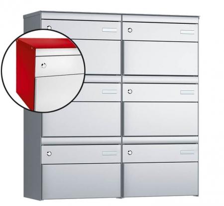 Stebler 6-er Briefkastengruppe s:box 13 Q, 2x3, Feuerrot/Weissaluminium, Wandmontage