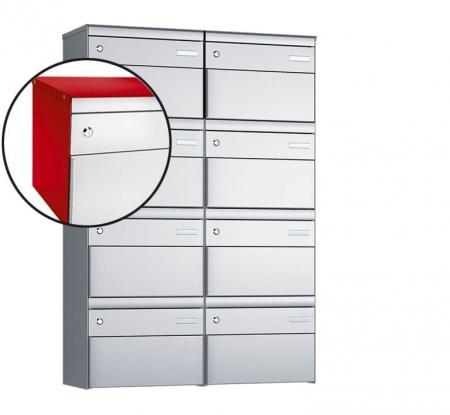 Stebler 8-er Briefkastengruppe s:box 13 Q, 2x4, Feuerrot/Weissaluminium, Wandmontage