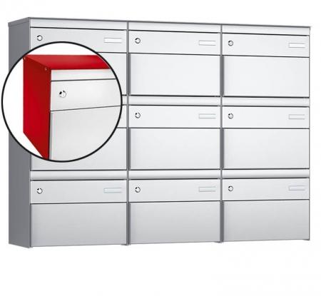 Stebler 9-er Briefkastengruppe s:box 13 Q, 3x3, Feuerrot/Weissaluminium, Wandmontage