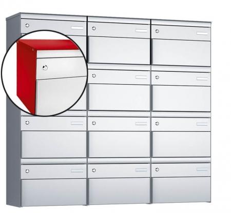 Stebler 12-er Briefkastengruppe s:box 13 Q, 3x4, Feuerrot/Weissaluminium, Wandmontage