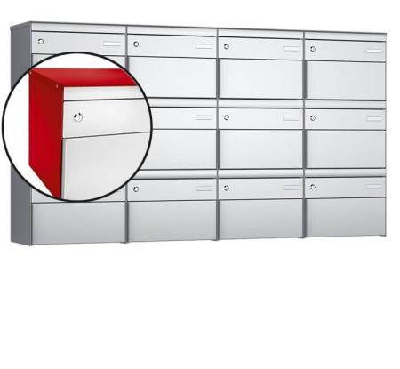 Stebler 12-er Briefkastengruppe s:box 13 Q, 4x3, Feuerrot / Weissaluminium, Wandmontage