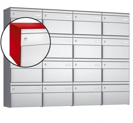 Stebler 16-er Briefkastengruppe s:box 13 Q, 4x4, Feuerrot/Weissaluminium, Wandmontage